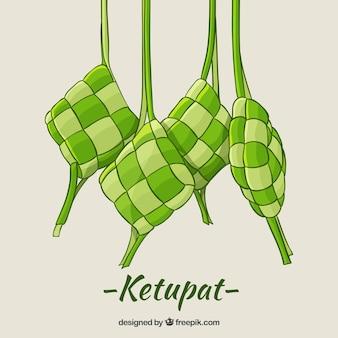 Composición de ketupat tradicional dibujada a mano