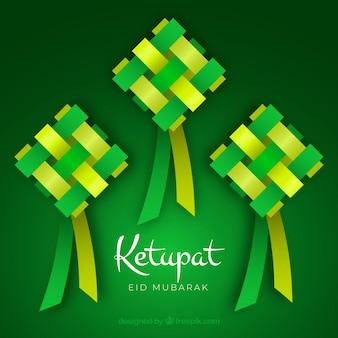 Composición de ketupat tradicional con diseño plano