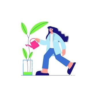 Composición de laboratorio de ciencia con personaje femenino de científico regando la flor