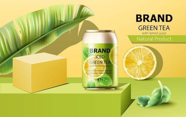 Composición de una lata de té verde helado