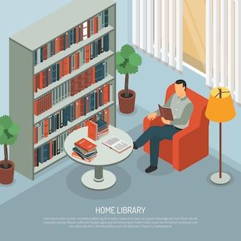 Composición de lectura de la biblioteca doméstica