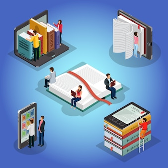 Composición de lectura de libros isométricos con personas y literatura educativa lector de libros electrónicos biblioteca electrónica en el teléfono portátil aislado