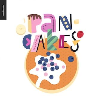 Composición de letras love spring pancakes