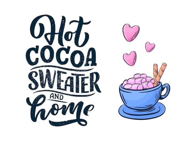 Composición de letras de mano de chocolate caliente.