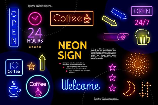 Composición de letreros de neón publicitarios iluminados.