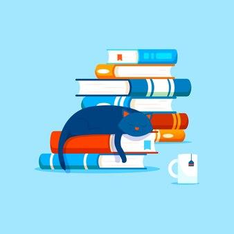 Composición con libros, concepto de literatura casera. montones de libros y un gato doméstico descansando sobre un libro.