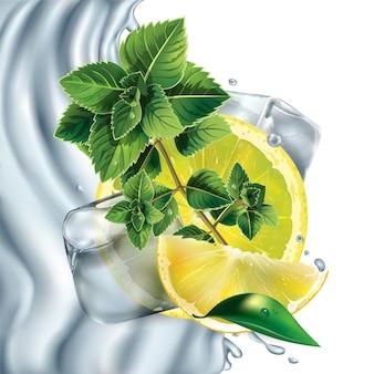 Composición de limón, menta y cubitos de hielo.