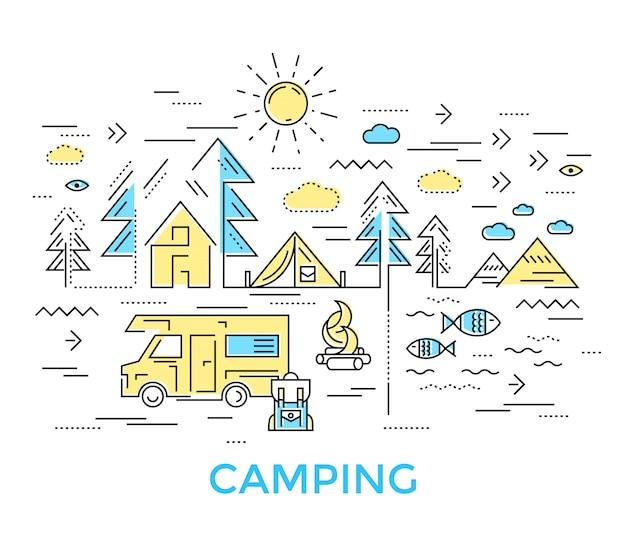 Composición de la línea de camping