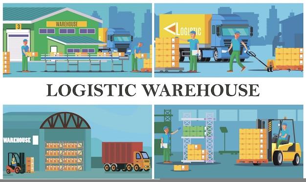 Composición de logística de almacén plano con carga de trabajadores de almacenamiento de proceso de camiones que transportan y calculan cajas