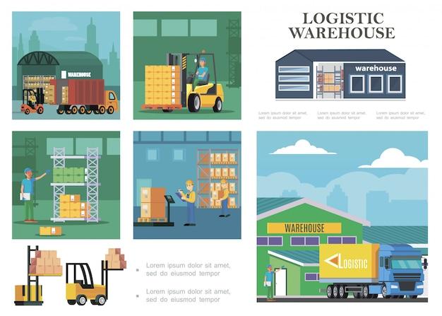 Composición de logística de almacén plano con proceso de carga de camiones trabajadores de almacenamiento que transportan cajas de pesaje y cálculo