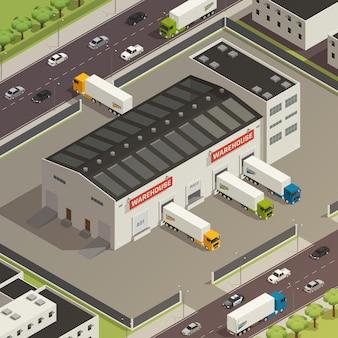 Composición logística de camiones vehículos pesados durante la carga y el envío de carga cerca del edificio del almacén