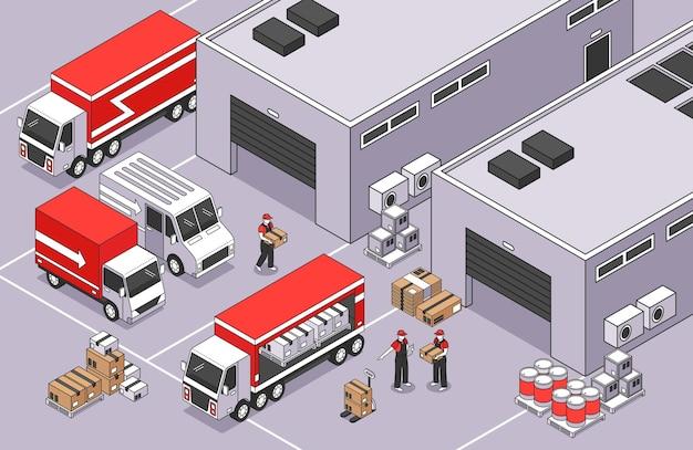Composición de logística isométrica con paisaje al aire libre del área de almacén con cajas de paquetería, camionetas y camiones