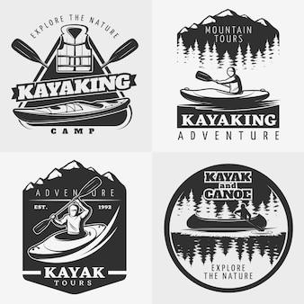 Composición del logo de aventura en kayak