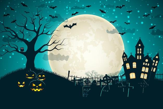 Composición de la luna de la noche de halloween con calabazas brillantes, castillo vintage y murciélagos volando sobre el cementerio plano