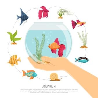 Composición de la mano del tazón de pescado