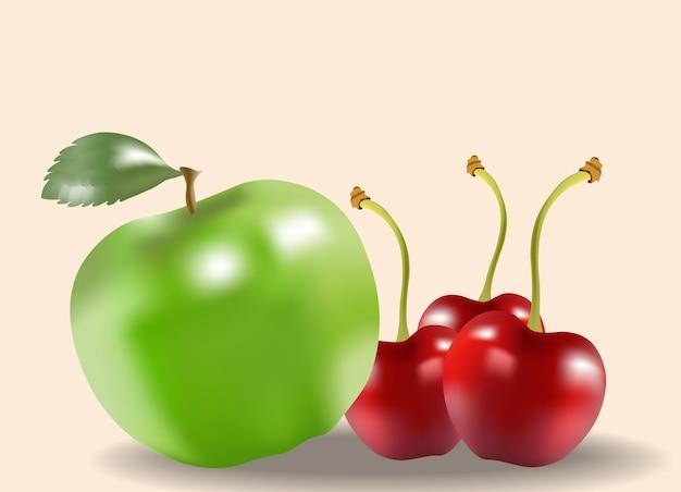 Composición de manzana verde y cerezas sobre fondo beige. frutas saludables
