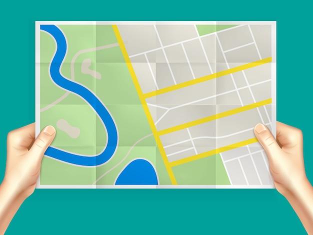 Composición de mapa de ciudad plegable