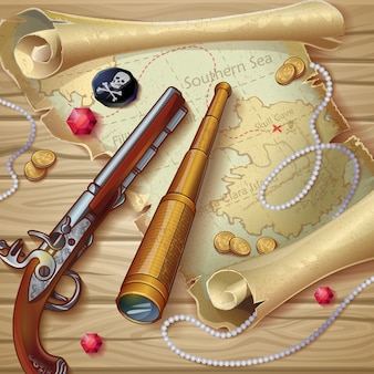 Composición del mapa pirata