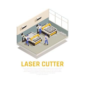 Composición de maquinaria industrial con símbolos de corte láser isométrica