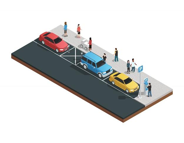 Composición de máquinas expendedoras con máquinas de aparcamiento.