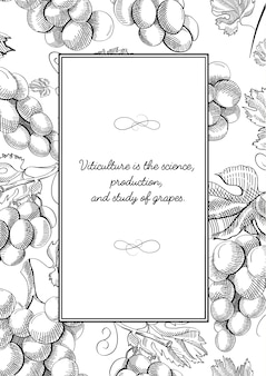 Composición de marco cuadrado monocromo con racimos de uvas