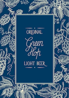 Composición de marco de guirnalda decorativa cuadrada azul y blanca con inscripción sobre cerveza ligera original en el centro de la tarjeta y doodle dibujado a mano de línea de puntos superior-inferior
