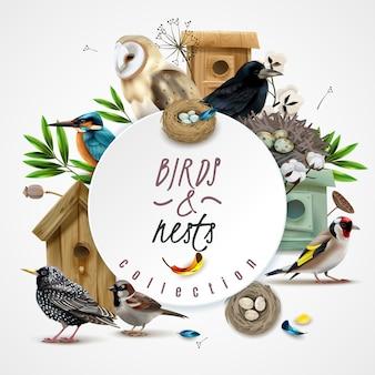 Composición de marco de nidos de pájaros con imágenes de hojas de casas de pájaros y punto circular con texto editable