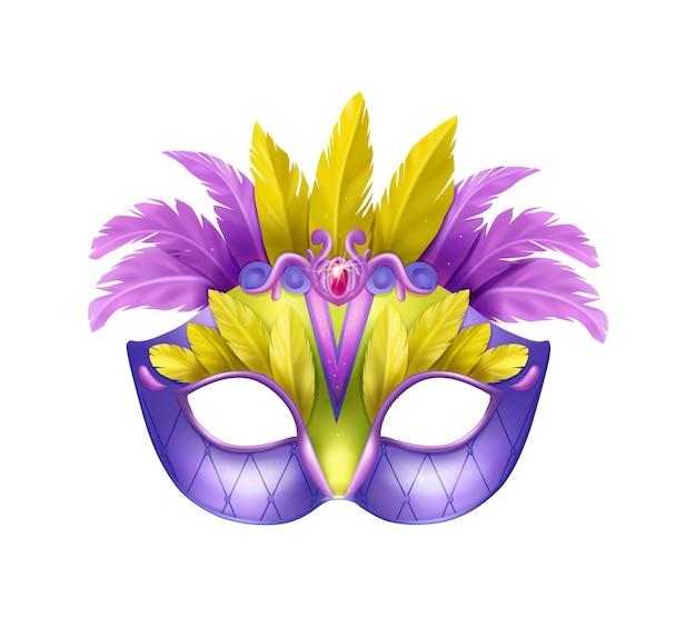 Composición de máscara carvinal realista con ilustración aislada de máscara de mascarada con plumas púrpuras y amarillas