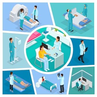 Composición de medicina isométrica con médicos, pacientes, cirugía, consulta médica y diferentes procedimientos de diagnóstico aislados