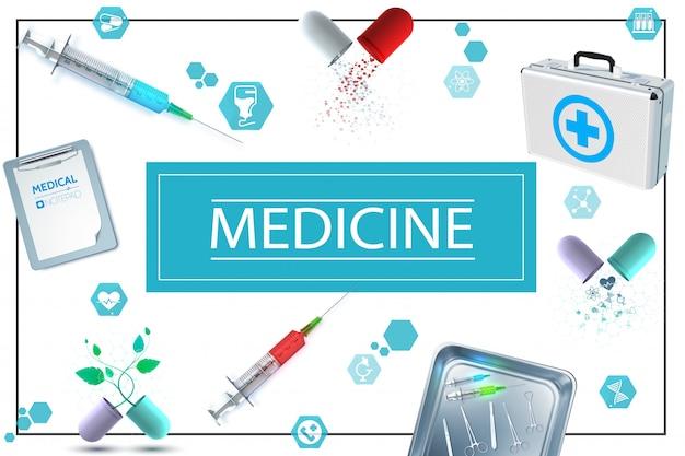 Composición de medicina realista con cápsulas de bloc de notas, iconos de kit médico, jeringas e instrumentos quirúrgicos en esterilizador de metal