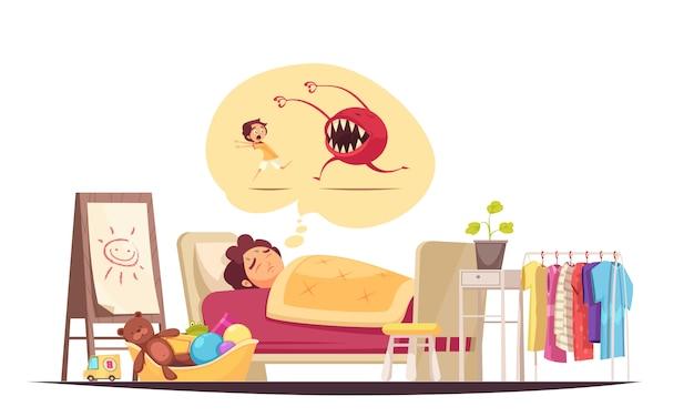 Composición de miedos infantiles con sueños malos y símbolos de monstruos