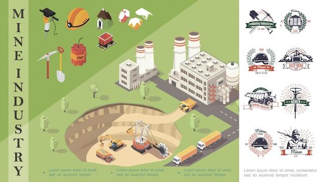 Composición de minería isométrica con máquinas industriales en cantera cerca de fábrica casco de minero piedras preciosas carro de dinamita taladro pala piqueta emblemas de la industria minera