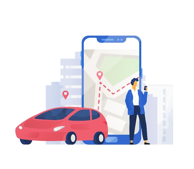 Composición moderna con automóvil y personaje masculino de pie junto a un teléfono móvil gigante con un mapa de la ciudad en la pantalla