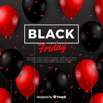 Composición moderna de black friday con globos realistas