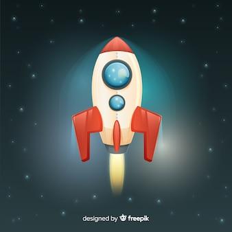 Composición moderna de cohete con diseño realista