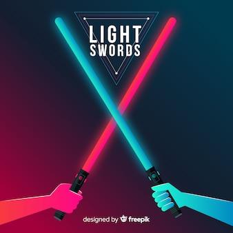 Composición moderna con dos espadas láser cruzadas