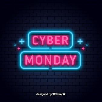 Composición moderna de cyber monday con estilo de neón