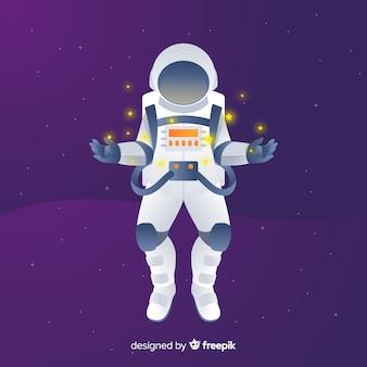 Composición moderna de astronauta con diseño plano