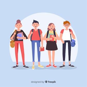 Composición moderna de vida de estudiante con diseño plano