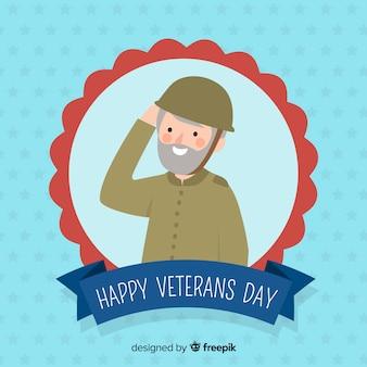 Composición moderna del día de los veteranos con soldado