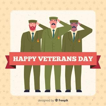 Composición moderna del día de los veteranos con soldados