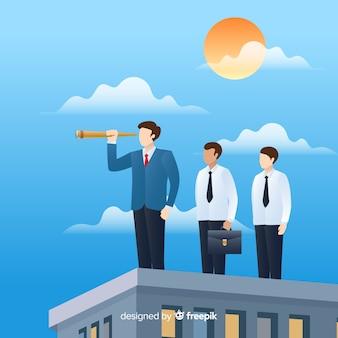 Composición moderna de liderazgo con diseño plano