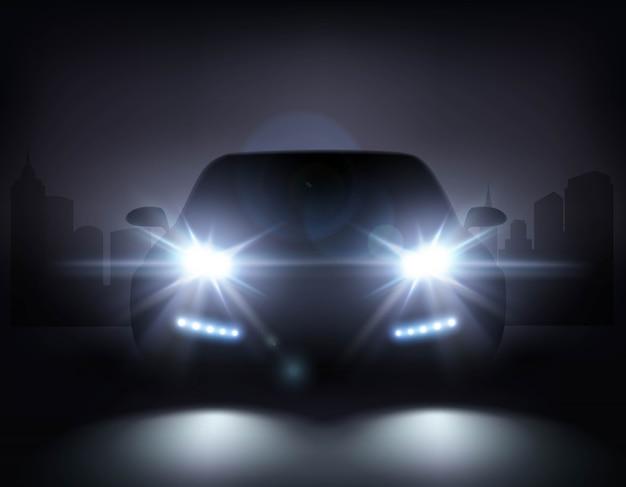 Composición moderna de las luces del coche