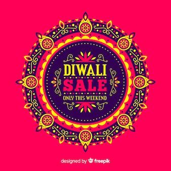 Composición moderna de rebajas de diwali con diseño plano
