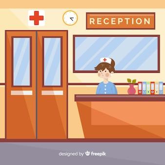 Composición moderna de recepción de hospital