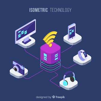 Composición moderna de tecnología con vista isométrica
