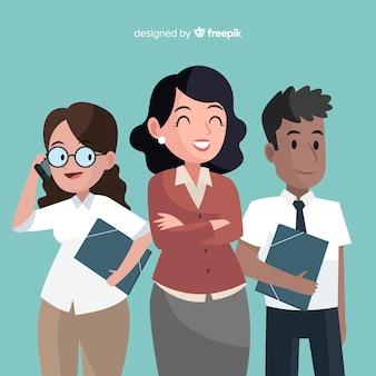 Composición moderna de trabajadores de oficina con diseño plano
