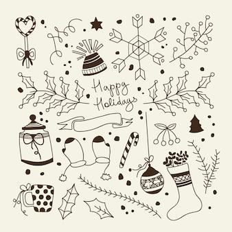 Composición monocromática feliz navidad elementos tradicionales