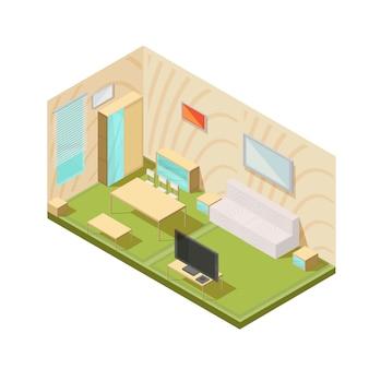 Composición de los muebles con sala de estar isométrica, interior, televisor, ventana, mesas, armario y mesitas de noche vector ilustración