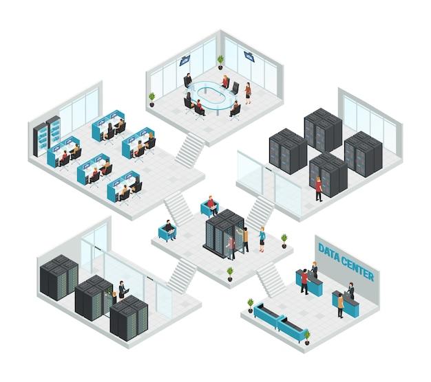 Composición multistore de seis salas de centros de datos isométricos.